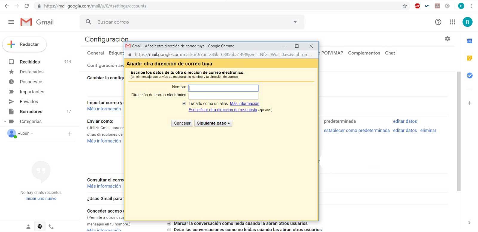 conexión gmail con tu dominio