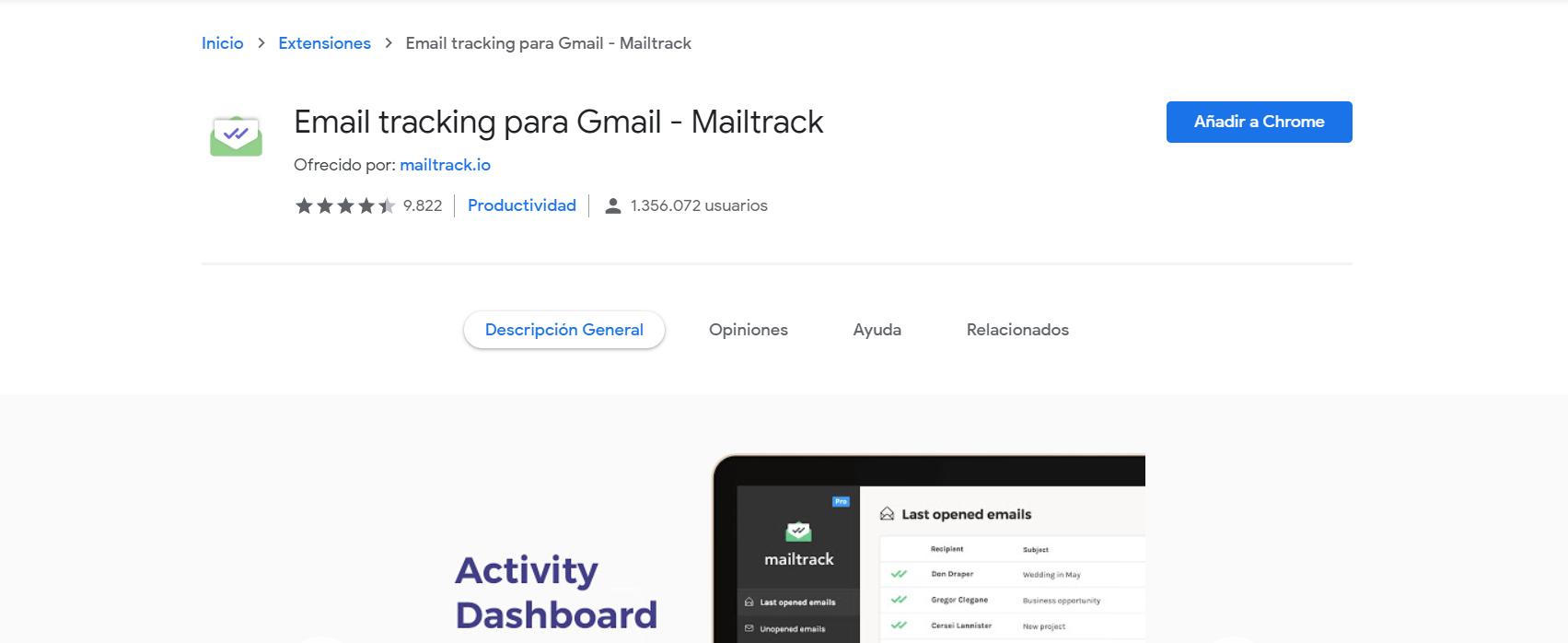 Cómo instalar mailtrack